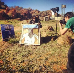 Artist Vincent Namatjira being snapped by The Advertiser photographer Calum Robertson. Photo by Katie Spain