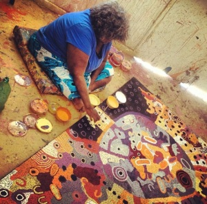 Artists at work in the APY Lands. Photo by Katie Spain